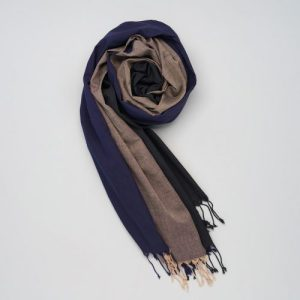 Soft handwoven cotton scarf blue-black-nude