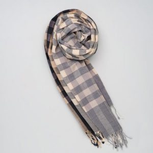 Soft handwoven cotton scarf grey-black-nude small blocks and stripes