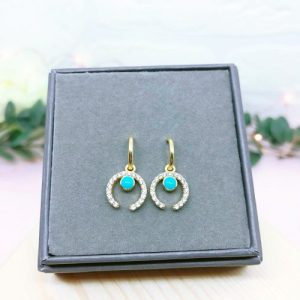 Dainty Gold Cubic Zirconia Horn .925 Sterling Hoops