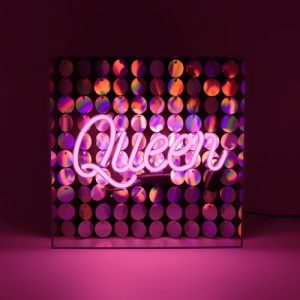 'Queen' Acrylic Box Neon Light with Sequins - Queen Front WEB 500x500