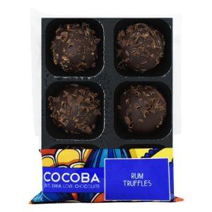 RUM TRUFFLES, pack of 8 - Rum Chocolate Truffles Tray Wrapped 500x500