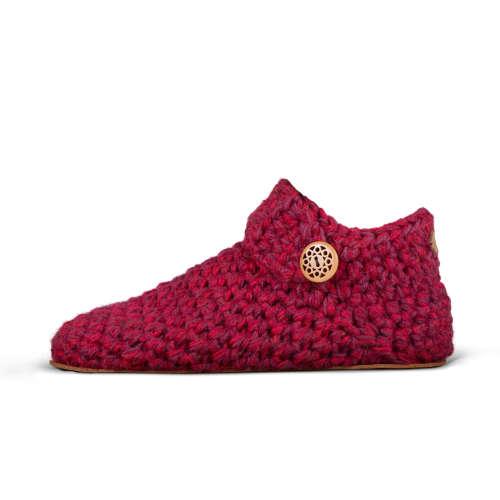 Women's Wine Red Wool Slippers_side_Kingdom of Wow!