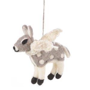 Handmade Felt Grey Deer with Scarf Hanging Felt Decoration