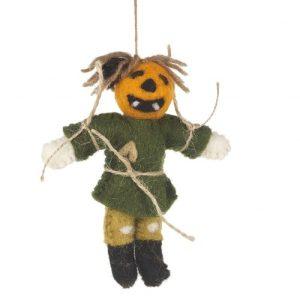 Handmade Felt Biodegradable Hanging Pumpkin Scarecrow Halloween Decoration