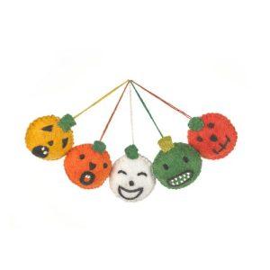 Handmade Felt Halloween Faces (Bag of 5) Hanging Pumpkin Decorations