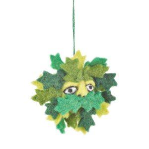 Handmade Needle Felt Green Man Biodegradable Hanging Decoration