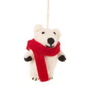 Hanging Felt Pedro Polar Bear Handmade Felt Biodegradable Decoration