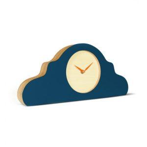 Mantel Clock Petrol Blue – Face: Bare Wood ; Hands: Neon Orange