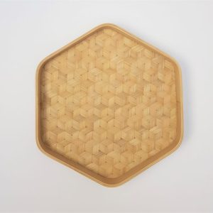 BH01 Satwastu Hexagon Bamboo Tray - satwastu tray small 3 500x500