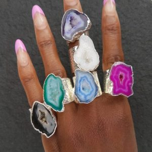 YAA YAA LONDON Silver 'Mega' Gemstone Statement Ring (Assorted Colours) - yaa yaa london silver gemstone mega rings 12 500x500