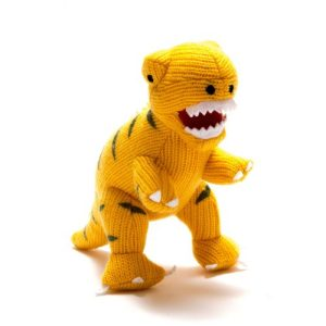 Knitted Dinosaur Yellow T Rex Baby Rattle - yellow t rex rattle 500x500