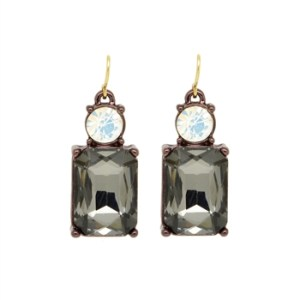 Simple Slate Grey Gem with Crystal Earrings in Antique Gold - 10 LTE08S 2T