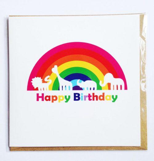 Greetings Card pack of 6: Rainbow Animals
