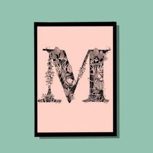 M Monogram A4 print