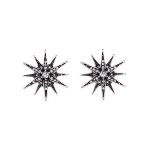 Large Multi Crystal Sparkly Star Earrings in Antique Silver - 11 LTE18S 2T