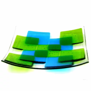 Fusion fused glass bowl - large - green/turquoise - 11 green turq 500x500