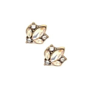 Pale Amber Crystal Cluster Earrings in Antique Gold - 12 LTE33A 2T