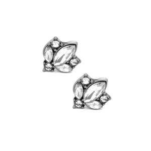 Clear Crystal Cluster Earrings in Antique Silver - 13 LTE33S 2T