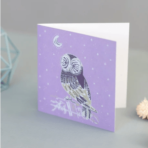 Purple Barn Owl and Night Sky Blank Occasion Greeting Card