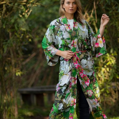 From My Mother's Garden Blossoming Robe with an apple green, pink and white colour print