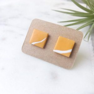 Stud Earrings - ochre or mustard and white 'twig' squares, pack of 3 - 2 il 794xN.1733772718 o288 500x500