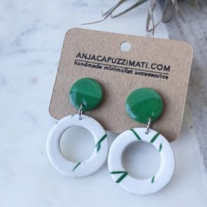 Dangle Stud Earrings – Green and white twig cut out dangle earrings, pack of 2