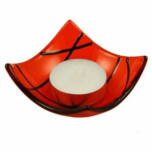 Linea fused glass candle holder - orange - 25 orange 500x500