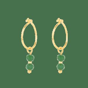 Earring - 2 Green Beads - 254  Earring 2 Green Beads 500x500
