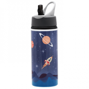 MISSION TO THE MOON SPACE TRAVEL 650ml ALUMINIUM DRINKS BOTTLE WITH RETRACTABLE STRAW