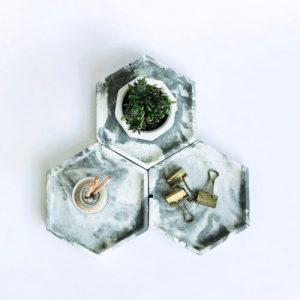 Concrete hexagonal tray/organiser (marble)