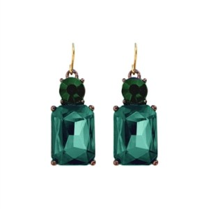 Simple Emerald Green Gem with Crystal Earrings in Antique Gold - 9 LTE08E 2T