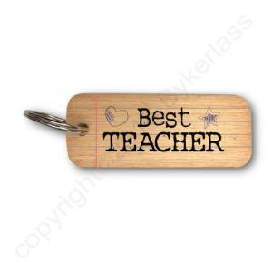 Best Teacher Rustic Wooden Keyring – RWKR1 – Pack of 6