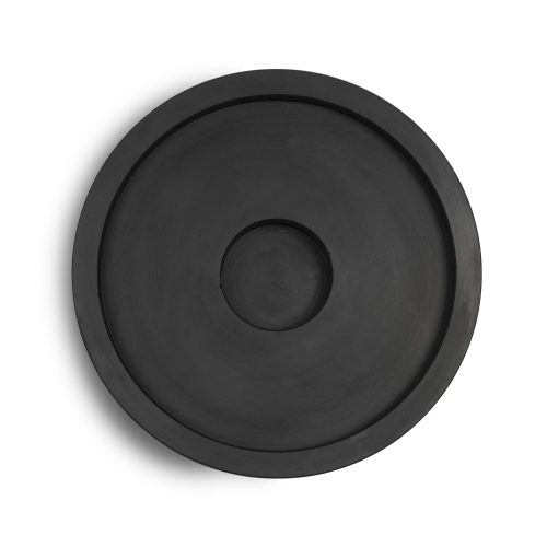 Hand poured black concrete candle plate