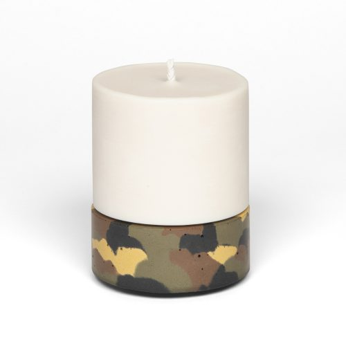 large concrete holder and pillar candle