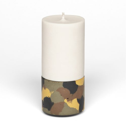mid concrete candle holder and pillar candle