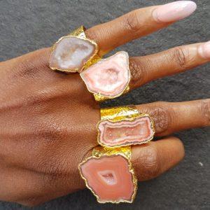 YAA YAA LONDON Caramel Mega Gemstone Gold Statement Ring