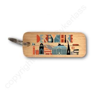 Derbyshire Rustic Wooden Keyring – RWKR1 – Pack of 6