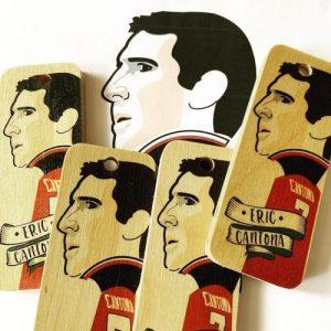 Eric Cantona Character Wooden Keyring – RWKR1 – Pack of 6