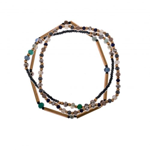 Set of three elasticated bracelets. Made with a combination of glass beads and brass pipes, they can be worn stacked or individually to suit other wrist accessories.