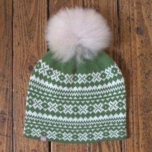 Alpaca Fair Isle Pom Pom Hat - Green - F149 Fur Pom Hat Green 500x500