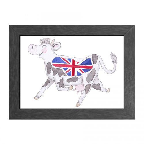 COW UK FLAG FRAMED A4