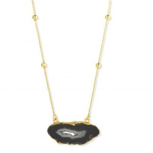 YYL LUXE 'MY FIRST LOVE' GOLD VERMEIL Black Grey AGATE CRYSTAL NECKLACE - GREY NECKLACE 500x500