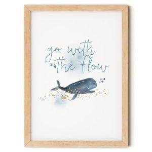 Go with the Flow Whale Nursery Print