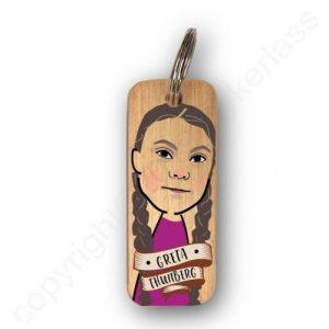 Greta Thunberg Character Wooden Keyring – RWKR1 – Pack of 6