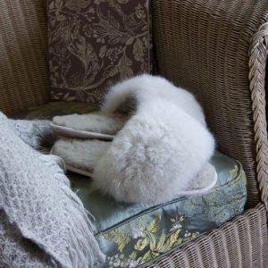 Alpaca Fur Slides – Oyster Grey – Size 5-6