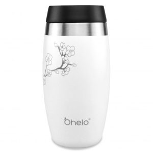 Ohelo Tumbler: The White Blossom - OHELO 400ml leakproof insulated reusable tumbler WHITE BLOSSOM front 500x500