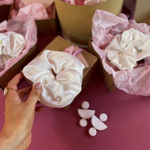 Off white silk scrunchie with Swarovski crystal