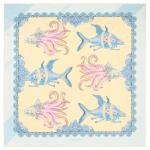 Fish square silk scarf light yellow ice blue
