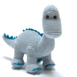 Knitted Blue Organic Cotton Diplodocus Dinosaur Baby Rattle