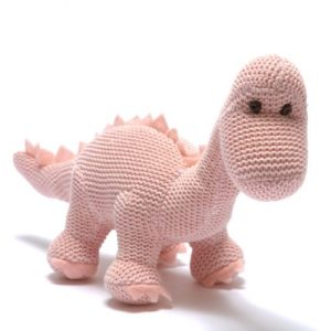 Knitted Pink Organic Cotton Diplodocus Baby Rattle